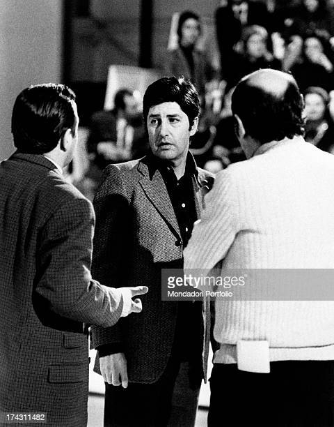 Italian director Antonello Falqui speaking during the rehearsals of the TV variey show Teatro 10. Rome, 1971.