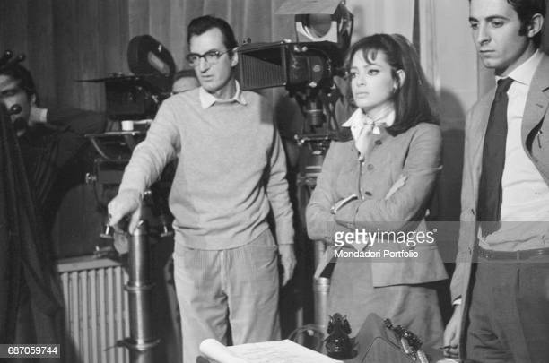 Italian director Carlo Lizzani instructing British actress Margaret Lee on the set of The Violent Four 1967