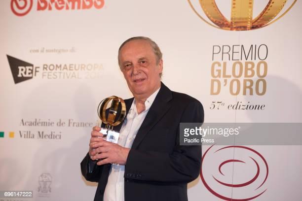 Italian director Dario Argento during the photocall of the 2017 Globe Awards ceremony evening in the Villa Medici Gardens