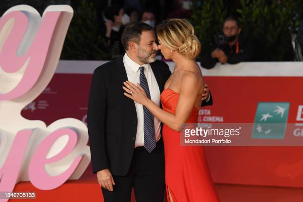 Italian director Fausto Brizzi with his wife Silvia Salis at Rome Film Fest 2021. The Eyes of Tammy Faye Red Carpet. Rome , October 14th, 2021