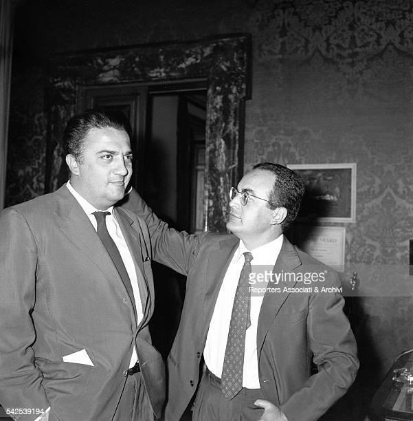 Italian director Federico Fellini with Italian producer Dino De Laurentiis Rome 1957