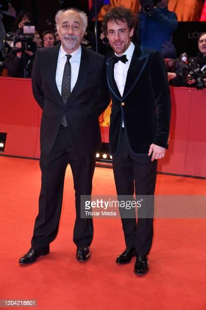 Italian director Giorgio Diritti and Elio Germano arrive for the closing ceremony of the 70th Berlinale International Film Festival Berlin at...
