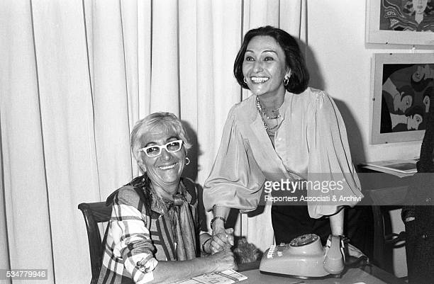 Italian director Lina Wertmuller and Flora Carabella Mastroianni posing for a photoshooting Italy1980