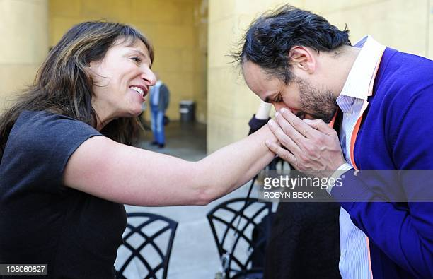 Italian director Luca Guadagnino nominated for the Golden Globe award for Best Foreign Language Film for I Am Love greets Danish director Susanne...