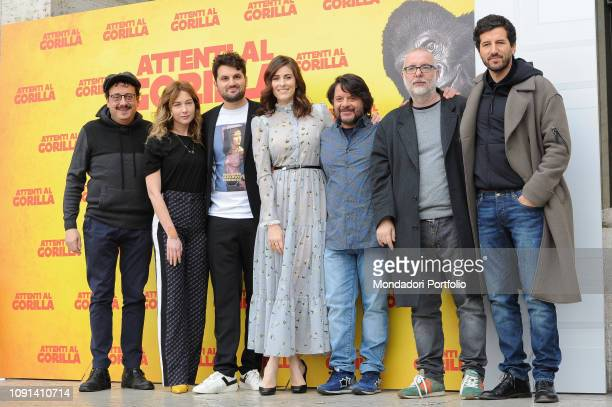 Italian director Luca Miniero and the cast during Attenti al Gorilla photocall at The Space Cinema Moderno. Rome, January 8th, 2019