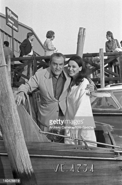Italian director Luchino Visconti on a water taxi with Lucia Bose Venice 1972
