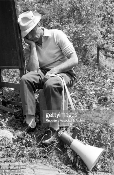 Italian director Luigi Comencini resting on the set of La Ragazza di Bube. Italy, 1963