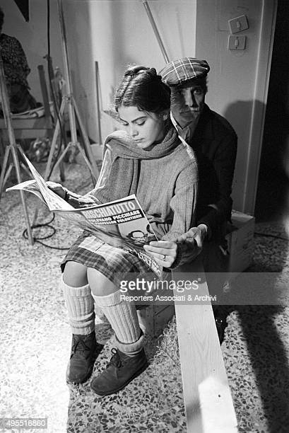 Italian director Mario Monicelli and Italian actress Ornella Muti having a break on the set of the film Come Home and Meet My Wife Italy 1974
