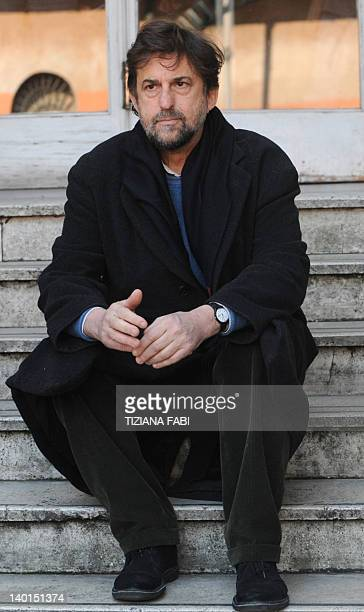Italian director Nanni Moretti poses after press conference of the film Caesar Must Die on February 29 2012 in Rome