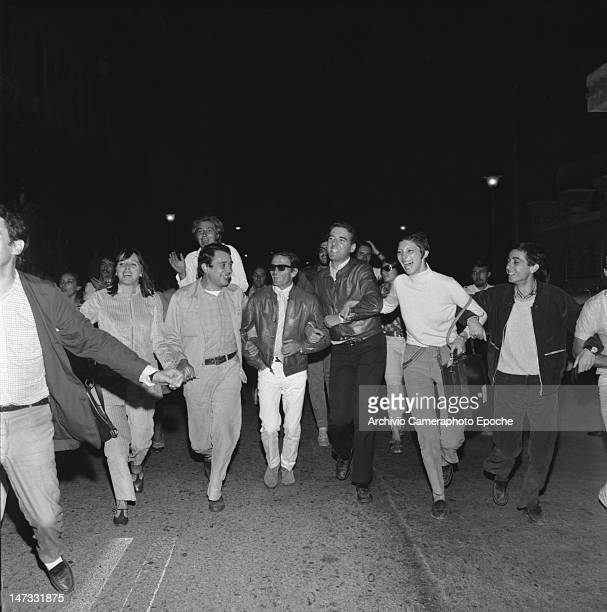 Italian director Pierpaolo Pasolini leading a protest march during a demonstration against the Biennale Venice 1968