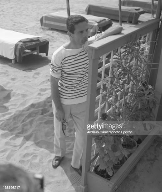 Italian director Pierpaolo Pasolini portrayed on the beach Lido Venice circa 1955