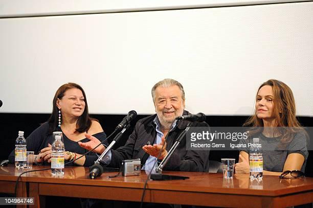 Italian director Pupi Avati with actresses Serena Grandi and Francesca Neri attends the screening of his latest film 'Una Sconfinata Giovinezza' at...