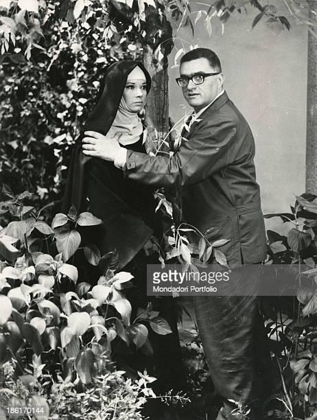 Italian director Sandro Bolchi giving some directions to Italian actress Lea Massari in the TV series I promessi sposi Italy 1967