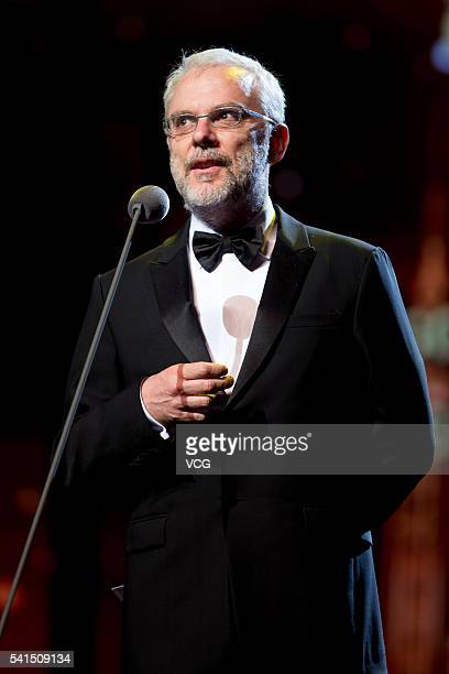 Italian director screenwriter and actor Daniele Luchetti attends the closing ceremony of 19th Shanghai International Film Festival on June 19 2016 in...