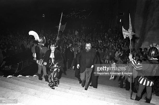 Italian director Sergio Leone and his wife Carla attending to the LXVII anniversary party of film production company Titanus Todi 1971