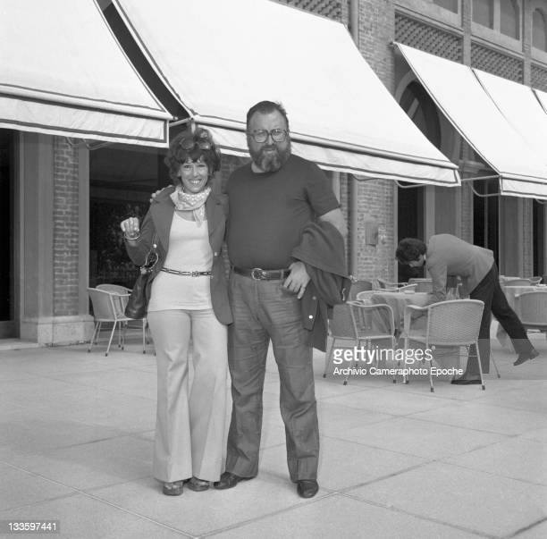 Italian director Sergio Leone outside the Excelsior Hotel with his wife Carla Lido Venice 1972