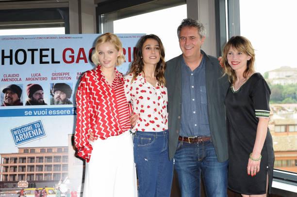 78b2da12025 Italian director Simone Spada with actresses Barbora Bobulova