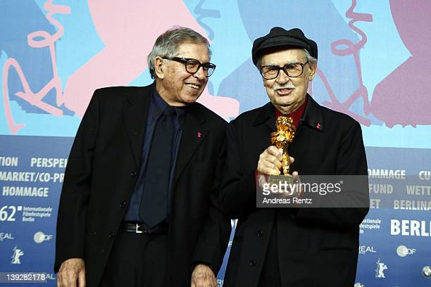 Italian directors Vittorio and Paolo Taviani pose after receiving the Golden Bear prize awarded for their film 'Caesar Must Die' at the Award Winners...