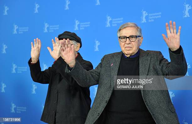 Italian directors Vittorio Taviani and his younger brother Paolo Taviani pose during a photocall for the film Caesar Must Die on February 11 2012 in...