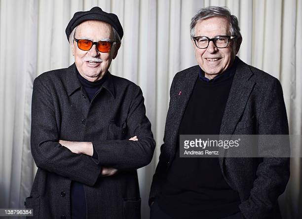Italian directors Vittorio Taviani and his younger brother Paolo Taviani pose for a portrait on February 12 2012 in Berlin Germany