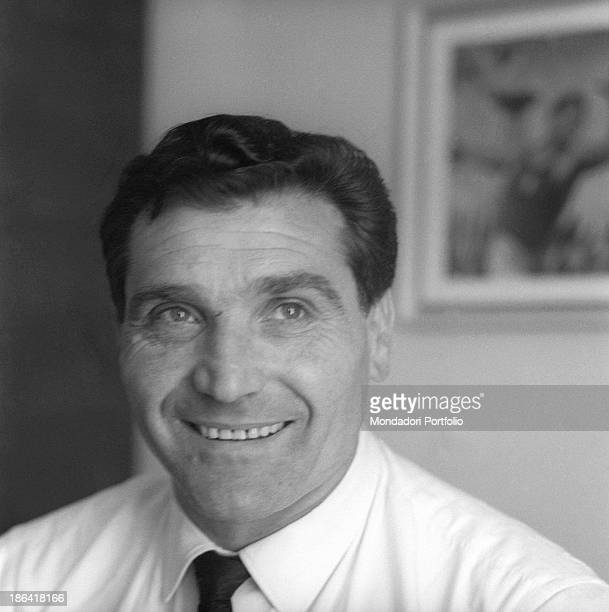 Italian discus throw champion Adolfo Consolini smiling at home Italy 1950s