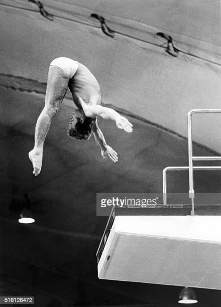 Italian diver Klaus Dibiasi executes his diving from the platform during the olympic contest on September 03 1972 at Munich / AFP / EPU /