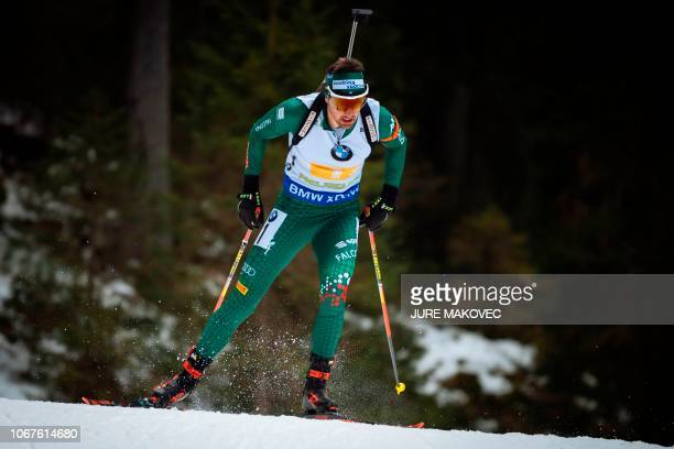 Italian Dominik Windisch competes during the Mixed Relay competition of the IBU Biathlon World Cup in Pokljuka on December 2 2018
