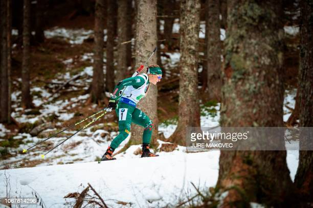 Italian Dorothea Wierer competes during the Mixed Relay competition of the IBU Biathlon World Cup in Pokljuka on December 2 2018