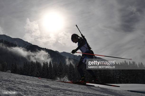 Italian Dorothea Wierer competes in the IBU Biathlon World Cup Women's 4 X 6 km Relay Competition in Antholz-Anterselva, Italian Alps, on January 24,...