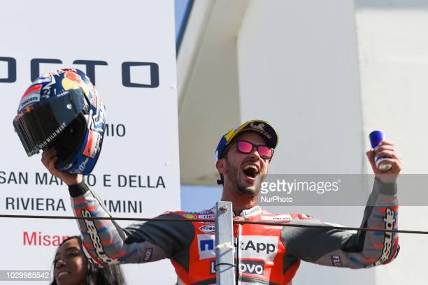 04 Italian driver Andrea Dovizioso of Team Ducati Racing on podium after the race in Misano World Circuit Marco Simoncelli in Misano Adriatico for...