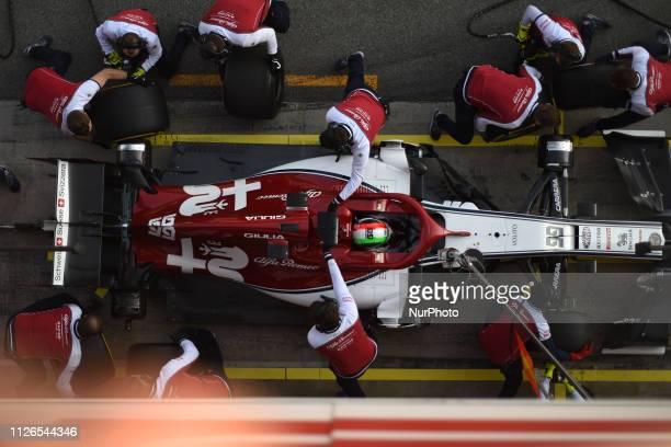 Italian driver Antonio Giovinazzi of Italian team Alfa Romeo Racing driving his singleseater during Barcelona winter test in Catalunya Circuit in...