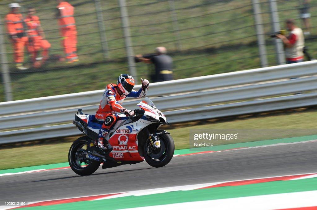 9 Italian driver Danilo Petrucci of Team Octo Pramac Racing driving during qualifying in Misano World Circuit Marco Simoncelli in Misano Adriatico for San Marino and Riviera di Rimini GP on 8 September 2018.