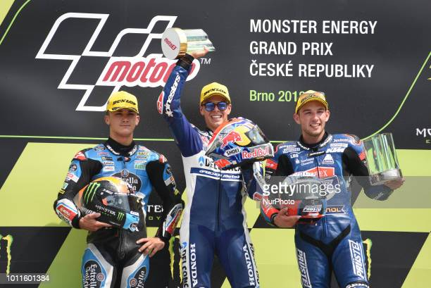 21 Italian driver Fabio Di Giannantonio of Team Del Conca Gresini 44 Spanish driver Aron Canet of Team Estrella Galicia 00 and 84 Czech driver Jakub...