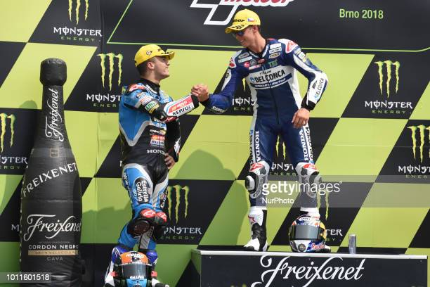 21 Italian driver Fabio Di Giannantonio of Team Del Conca Gresini and 44 Spanish driver Aron Canet of Team Estrella Galicia 00 during podium in Brno...