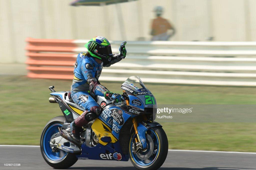 21 Italian driver Franco Morbidelli of Team EG 0,0 Marc VDS driving during qualifying in Misano World Circuit Marco Simoncelli in Misano Adriatico for San Marino and Riviera di Rimini GP on 8 September 2018.
