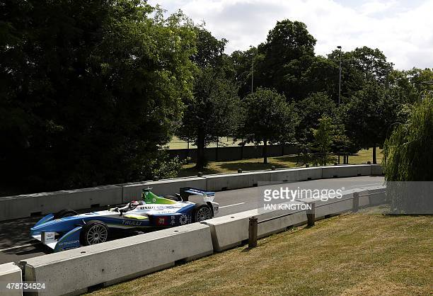 Italian driver Jarno Trulli of Trulli drives during non qualifying practice during the 2015 FIA Formula E London ePrix championship at Battersea Park...