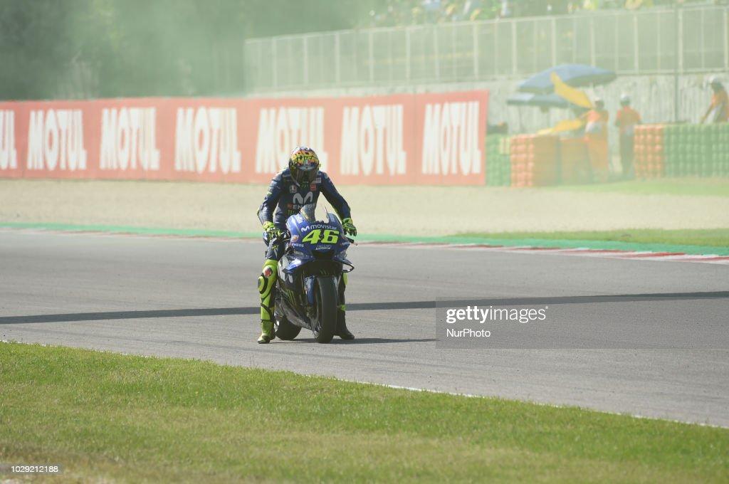 46 Italian driver Valentino Rossi of Team Movestar Yamaha MotoGP driving during qualifying in Misano World Circuit Marco Simoncelli in Misano Adriatico for San Marino and Riviera di Rimini GP on 8 September 2018.