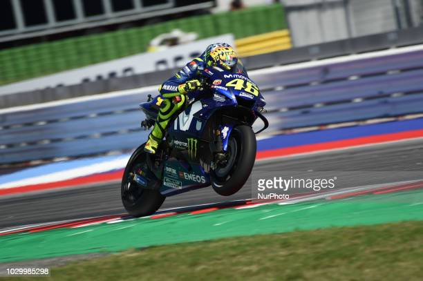 46 Italian driver Valentino Rossi of Team Movestar Yamaha MotoGP driving during the race in Misano World Circuit Marco Simoncelli in Misano Adriatico...