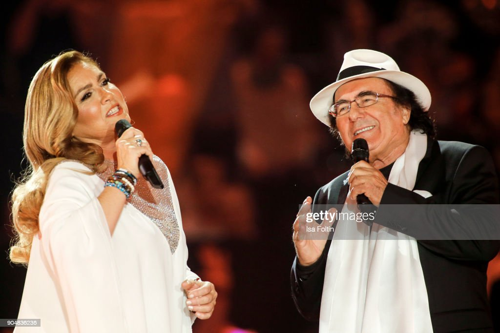 Italian duo Al Bano and Romina Power perform at the 'Schlagerchampions - Das grosse Fest der Besten' TV Show at Velodrom on January 13, 2018 in Berlin, Germany.