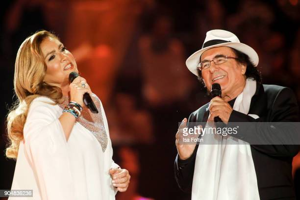 Italian duo Al Bano and Romina Power perform at the 'Schlagerchampions Das grosse Fest der Besten' TV Show at Velodrom on January 13 2018 in Berlin...