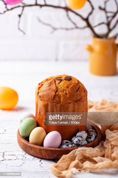 italian easter cake panettone or russian kulich - easter cake stock pictures, royalty-free photos & images