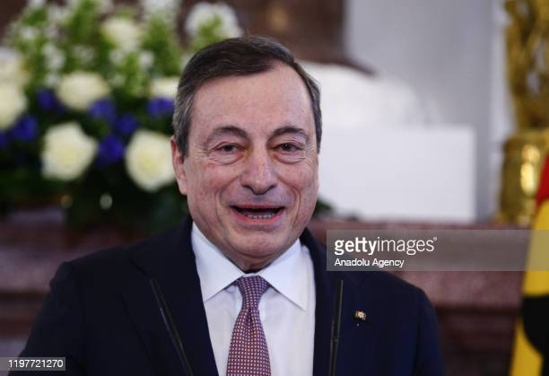 Italian economist Mario Draghi speaks at an award ceremony at the presidential Bellevue Palace in Berlin, Germany on January 31, 2020. - Months after...