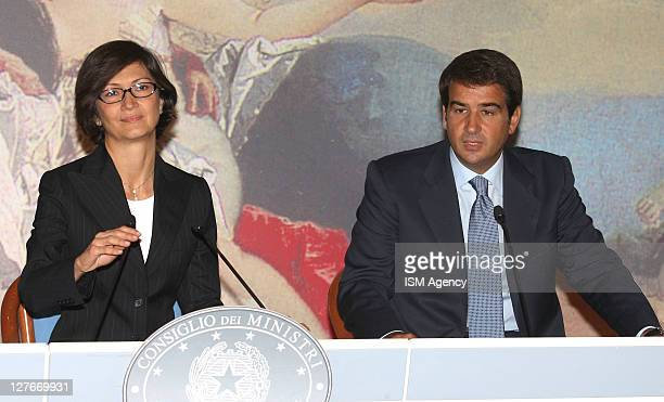 Italian Education Minister Maria Stella Gelmini and Italian Regional Affairs Minister Raffaele Fitto Hold a press conference at Chigi Palace on...