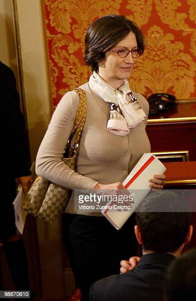 Italian Education Minister Maria Stella Gelmini attends a press conference held at Villa Gernetto on April 26 2010 in Lesmo Italy The meeting between...