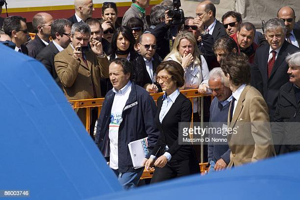 Italian Education Minister Maria Stella Gelmini attends at the inauguration of the first school set up in a tent camp after the April 6 earthquake on...