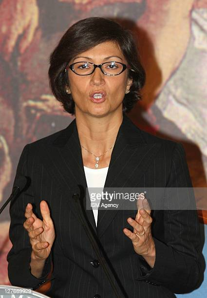 Italian Education Minister Maria Stella Gelmini Holds a press conference at Chigi Palace on September 30 2011 in Rome Italy CIPE InterMinisterial...
