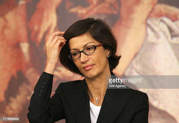 Italian Education Minister Maria Stella Gelmini Holds a press conference at Chigi Palace on September 30, 2011 in Rome, Italy. CIPE Inter-Ministerial...