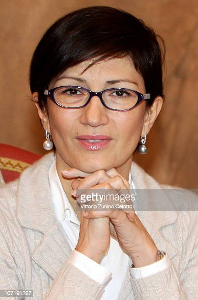 Italian Education Minister Mariastella Gelmini attends the School Construction Industry Conference held at Palazzo Marino on November 29, 2010 in...