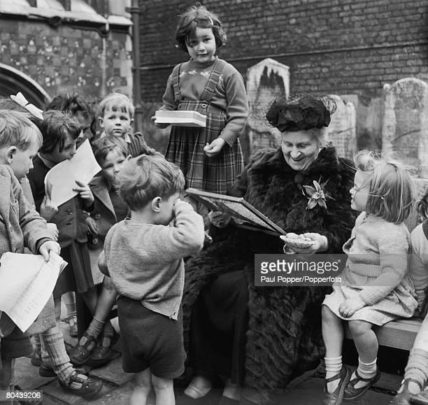 Italian educator Maria Montessori visits the Gatehouse School in London where her revolutionary teaching methods are employed 1951