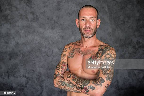 Italian entrepreneur and creator of the clothing brand Guru Matteo Cambi posing barechested showing his many tattoos The entrepreneur came back...